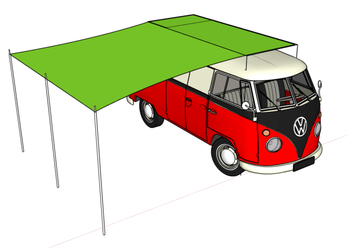 geplantes Sonnensegel für VW T2